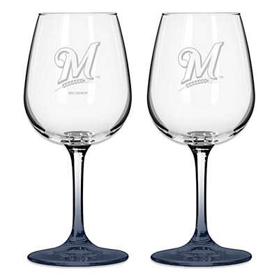 Satin Etched MLB Milwaukee Brewers Modern Logo Wine Glasses (Set of 2)