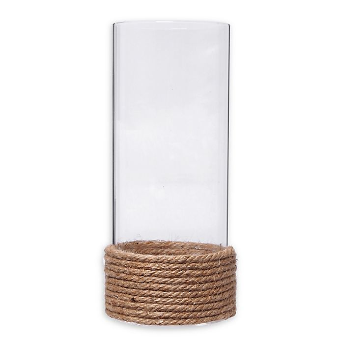 Glass Hurricane Vasecandle Holder With Rope Bed Bath Beyond