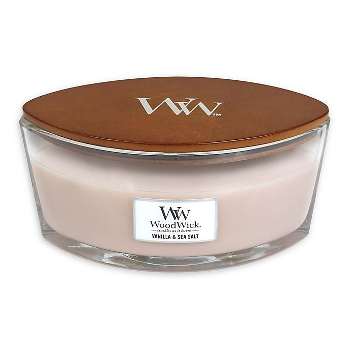 16 oz Highly Scented Candle Ellipse Glass Jar with Original HearthWick Flame WoodWick Vanilla /& SEA Salt Large 7-inch