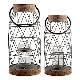 Home Essentials & Beyond Rustic Metal and Cork Hurricane Candle Holder