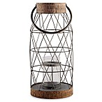 Home Essentials & Beyond Rustic 23-Inch Metal and Cork Hurricane Candle Holder