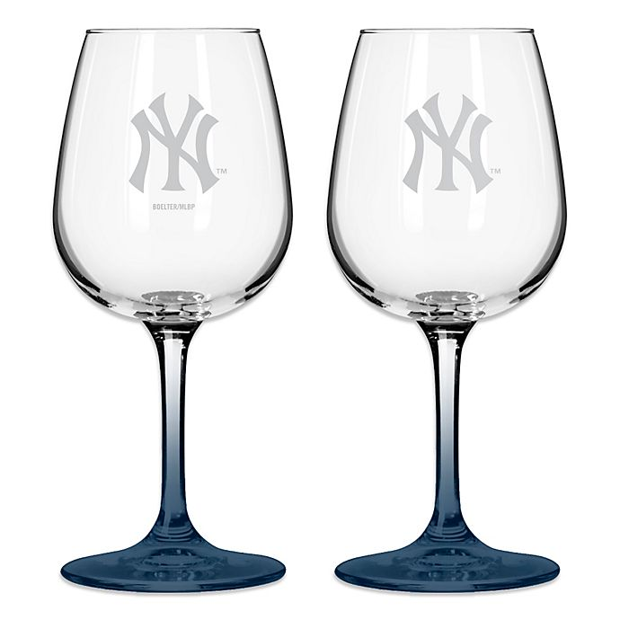 Alternate image 1 for Satin Etched MLB New York Yankees Wine Glasses (Set of 2)