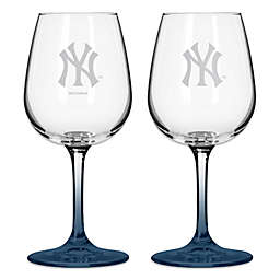 Satin Etched MLB New York Yankees Wine Glasses (Set of 2)