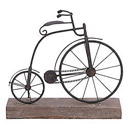 Ridge Road Décor Bicycle Iron Sculpture with Rustic Wood Base