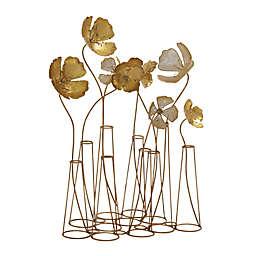 Ridge Road Décor Floral Iron Sculpture in Gold