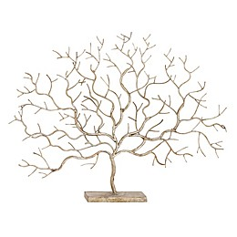 Ridge Road Décor Leafless Tree Iron Sculpture in Gold
