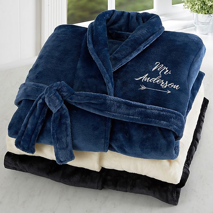Alternate image 1 for Mr. Embroidered Luxury Fleece Robe