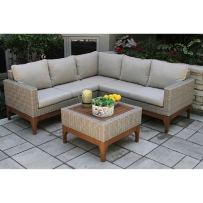 Outdoor Interiors 4 Piece Wicker And Eucalyptus Patio Sectional Set Bed Bath Beyond
