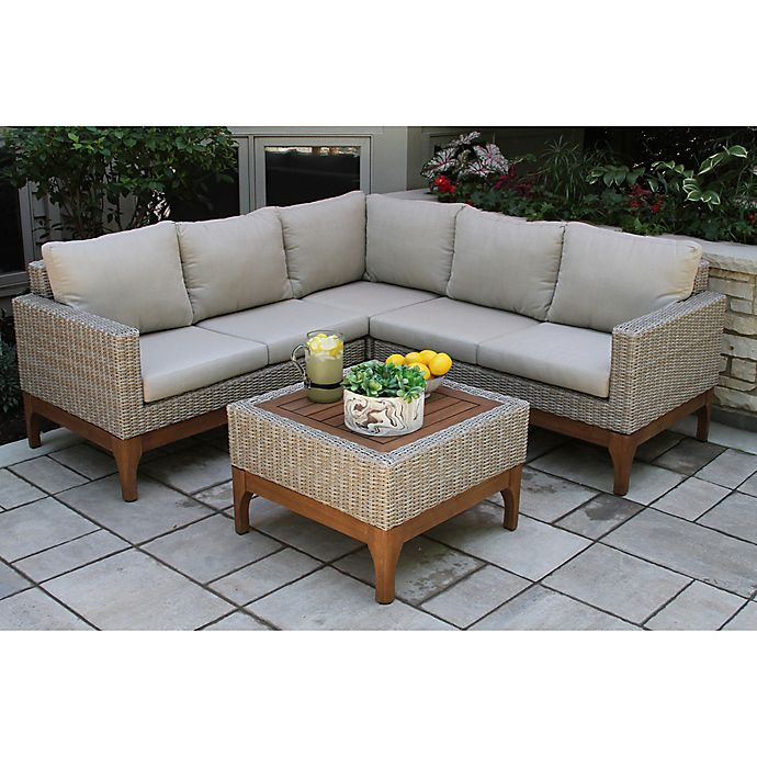 Alternate image 1 for Outdoor Interiors® 4-Piece Wicker and Eucalyptus Patio Sectional Set