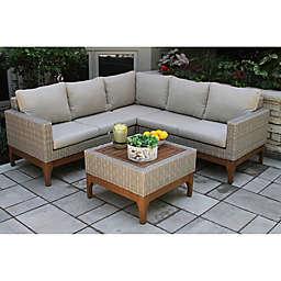 Outdoor Interiors® 4-Piece Wicker and Eucalyptus Patio Sectional Set