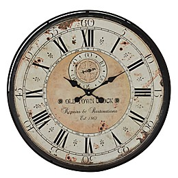 Uma Vintage-Style Round Wall Clock in Distressed White