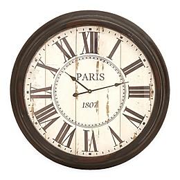 Ridge Road Decor 37-Inch Round Wall Clock in Distressed White