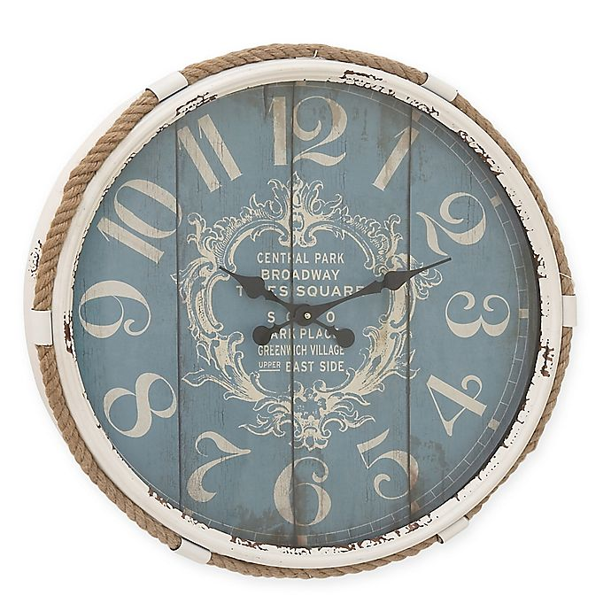 Alternate image 1 for Ridge Road Décor Flourish Round Wall Clock in Distressed Turquoise
