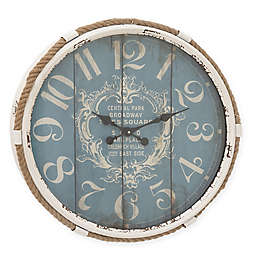 Ridge Road Décor Flourish Round Wall Clock in Distressed Turquoise