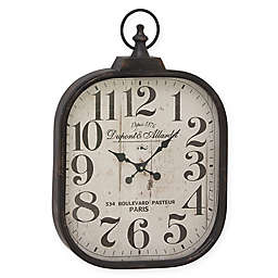Ridge Road Décor 18-Inch Rounded Square Analog Wall Clock in Vintage White
