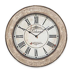 Ridge Road Décor 24-Inch Round French Wall Clock in Ivory White