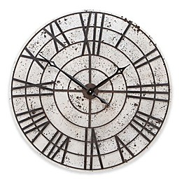 Ridge Road Décor 32-Inch Pitted Round Wall Clock in White with Brown Accents