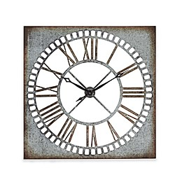 Ridge Road Décor 36-Inch Square Metal Wall Clock in Distressed Grey