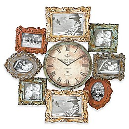 Ridge Road Décor 25-Inch Distressed Multi-Colored Photo Frame Wall Clock