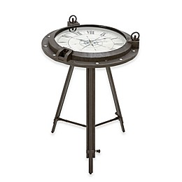 Ridge Road Décor Compass Clock Table in Black with White Accents