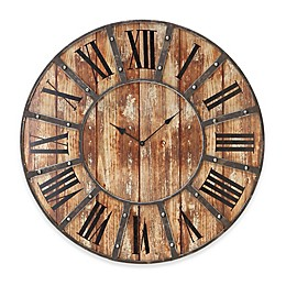 Ridge Road Décor 24-Inch Round Rustic-Style Wall Clock in Distressed Brown