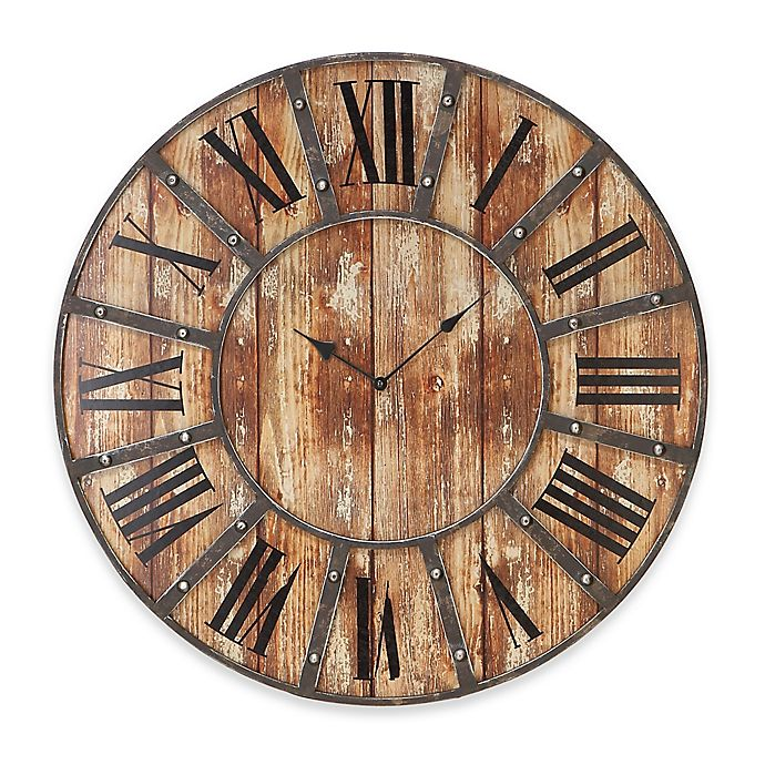 Alternate image 1 for Ridge Road Décor 24-Inch Round Rustic-Style Wall Clock in Distressed Brown