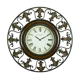 Ridge Road Décor 38-Inch Wrought Iron Fleur De Lis Round Wall Clock in Mahogany Brown
