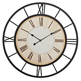 Ridge Road Décor 37-Inch Round Iron Wall Clock in Black and White