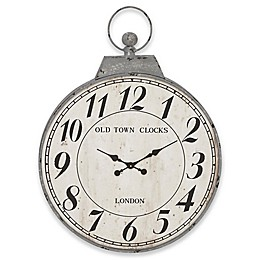 Ridge Road Décor Antique Reproduction Round Wall Clock in Distressed Grey
