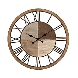 Ridge Road 36-Inch Décor Round Wall Clock with Grey Accents in Light Brown