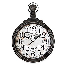 Ridge Road Décor Round Wall Clock with Ring and Finial in Black