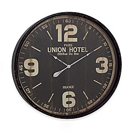 Ridge Road Décor 35-Inch Round Wall Clock in Distressed Black