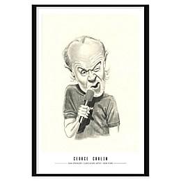 George Carlin Caricature by Dan Springer 25-Inch x 37-Inch Framed Wall Art