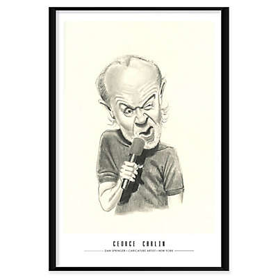 George Carlin Caricature by Dan Springer 25-Inch x 37-Inch Framed Wall Art