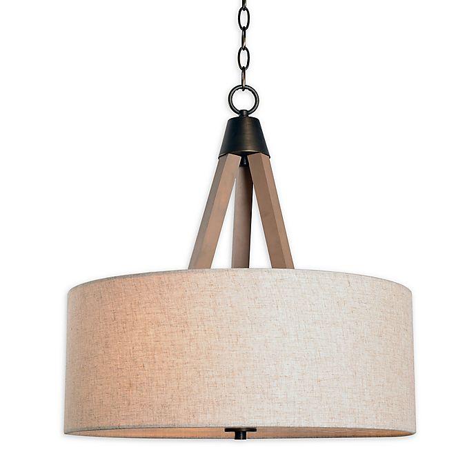 Kenroy Home Lighting Keen Bronze Pendant Light With Drum: Kenroy Home Peak 3-Light Drum Pendant In Oil Rubbed Bronze