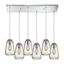 Elk Lighting Orbital Group 6-Light Pendant in Chrome with Clear Glass Shades