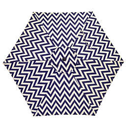 7.5-Foot Round Canopy Umbrella in Navy/White