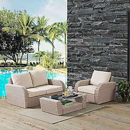 Crosley St. Augustine 3-Piece Resin Wicker Set with Cushions