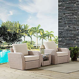 Crosley St. Augustine 3-Piece Resin Wicker Conversation Set with Cushions