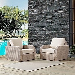 Crosley St. Augustine Resin Wicker Patio Chairs with Cushions (Set of 2)