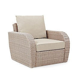 Crosley St. Augustine Resin Wicker Arm Chair in Weathered White with Cushions
