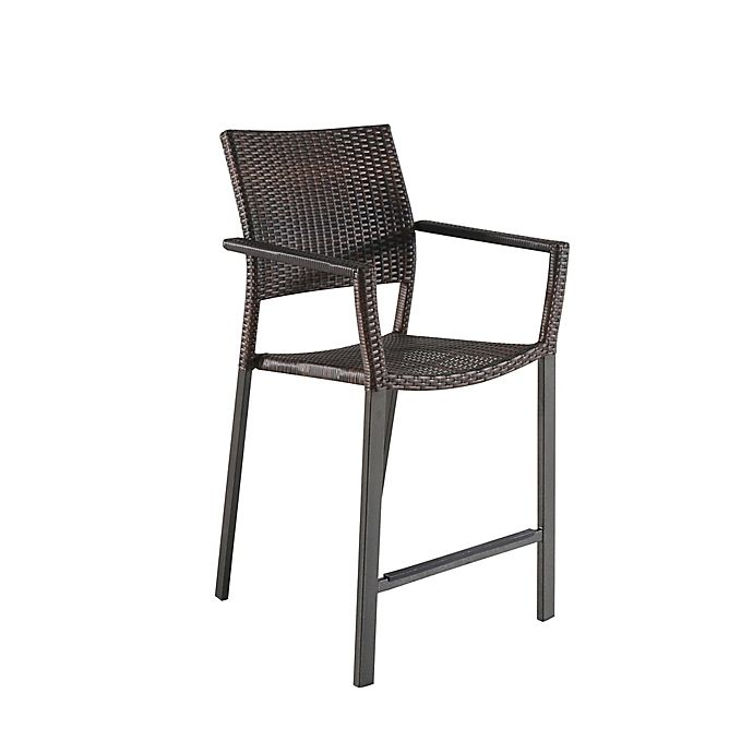 Alternate image 1 for All-Weather Wicker Square Stacking Balcony Chairs (Set of 2)