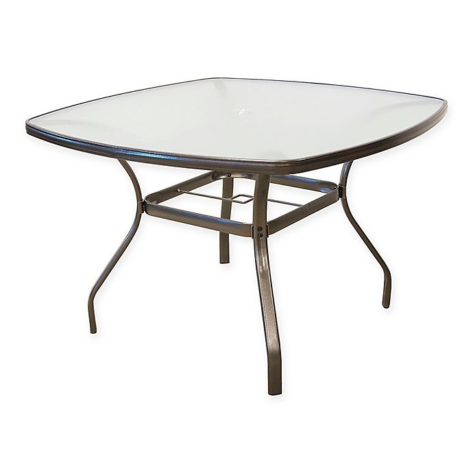 Alternate image 1 for Never Rust Aluminum 44-Inch Square Tempered Glass Dining Table in Dark Walnut