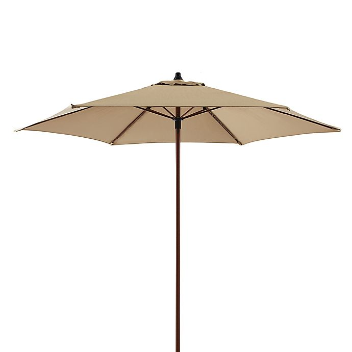 Alternate image 1 for 7.5-Foot Round Steel Faux Wood Umbrella in Tan