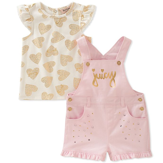 Juicy Couture 2 Piece Heart Print T Shirt And Shortall Set In Pink