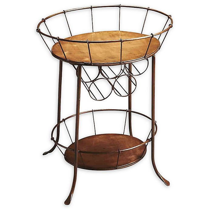 Alternate image 1 for Rucker Metal 2-Tier Oval Wine Storage Table in Antique Bronze