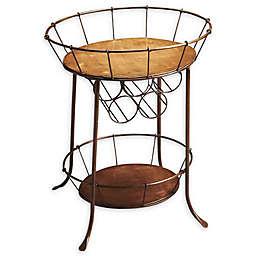 Rucker Metal 2-Tier Oval Wine Storage Table in Antique Bronze