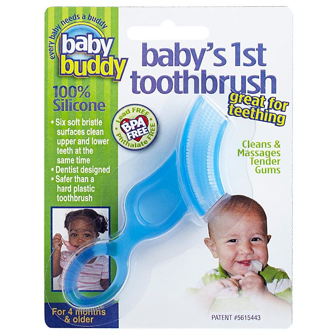Alternate image 1 for Baby Buddy® Baby's First Toothbrush in Blue
