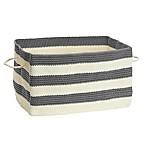 iDesign® Ellis Handknit Large Rectangle Bin with Handles in Grey/Cream