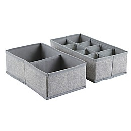 iDesign® Aldo Fabric Dresser Drawer Organizers in Grey (Set of 2)